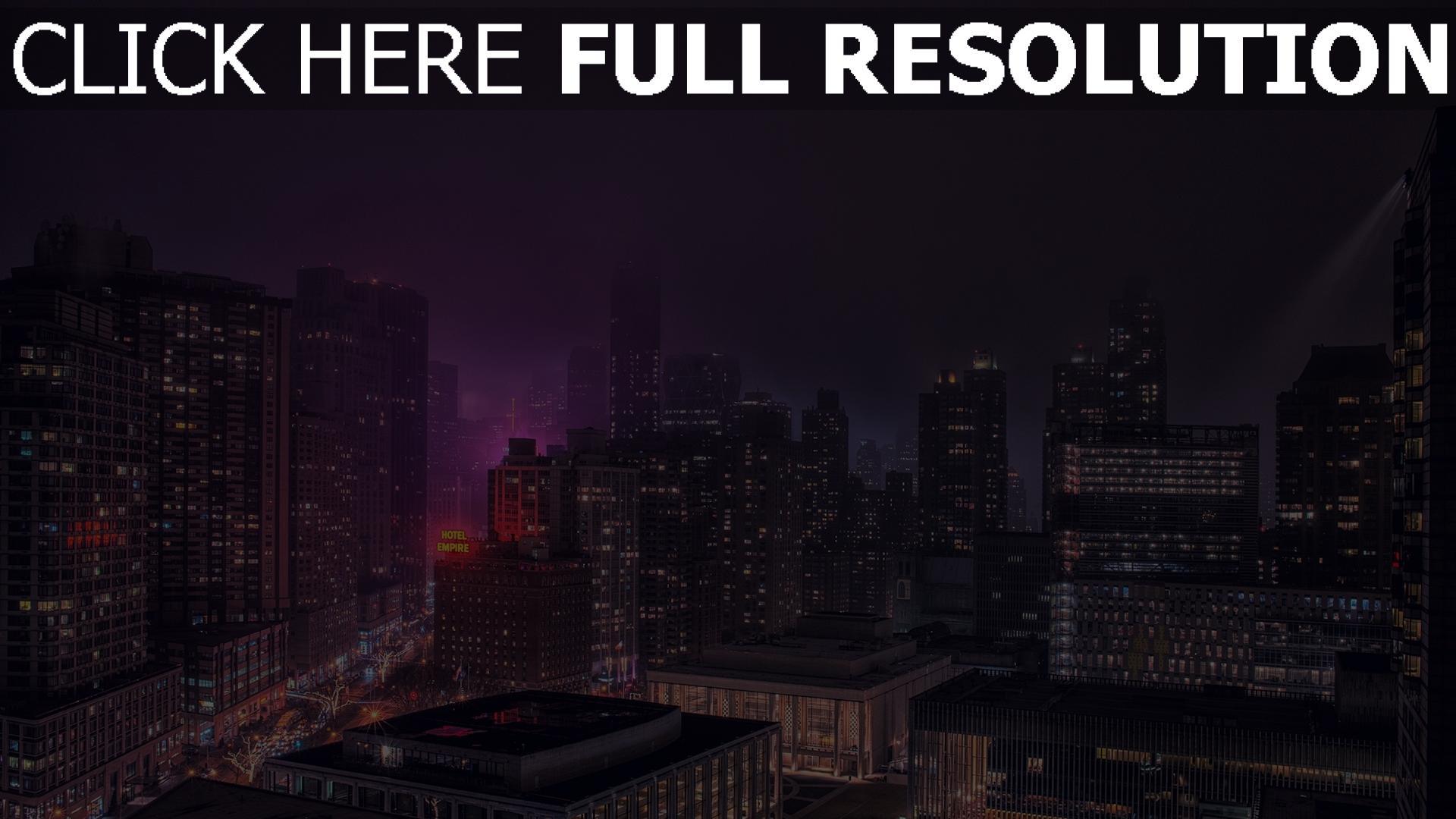 hd hintergrundbilder gebäude hochhäuser nachtlichter new york 1920x1080