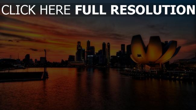 hd hintergrundbilder singapur sonnenuntergang licht hochhäuser