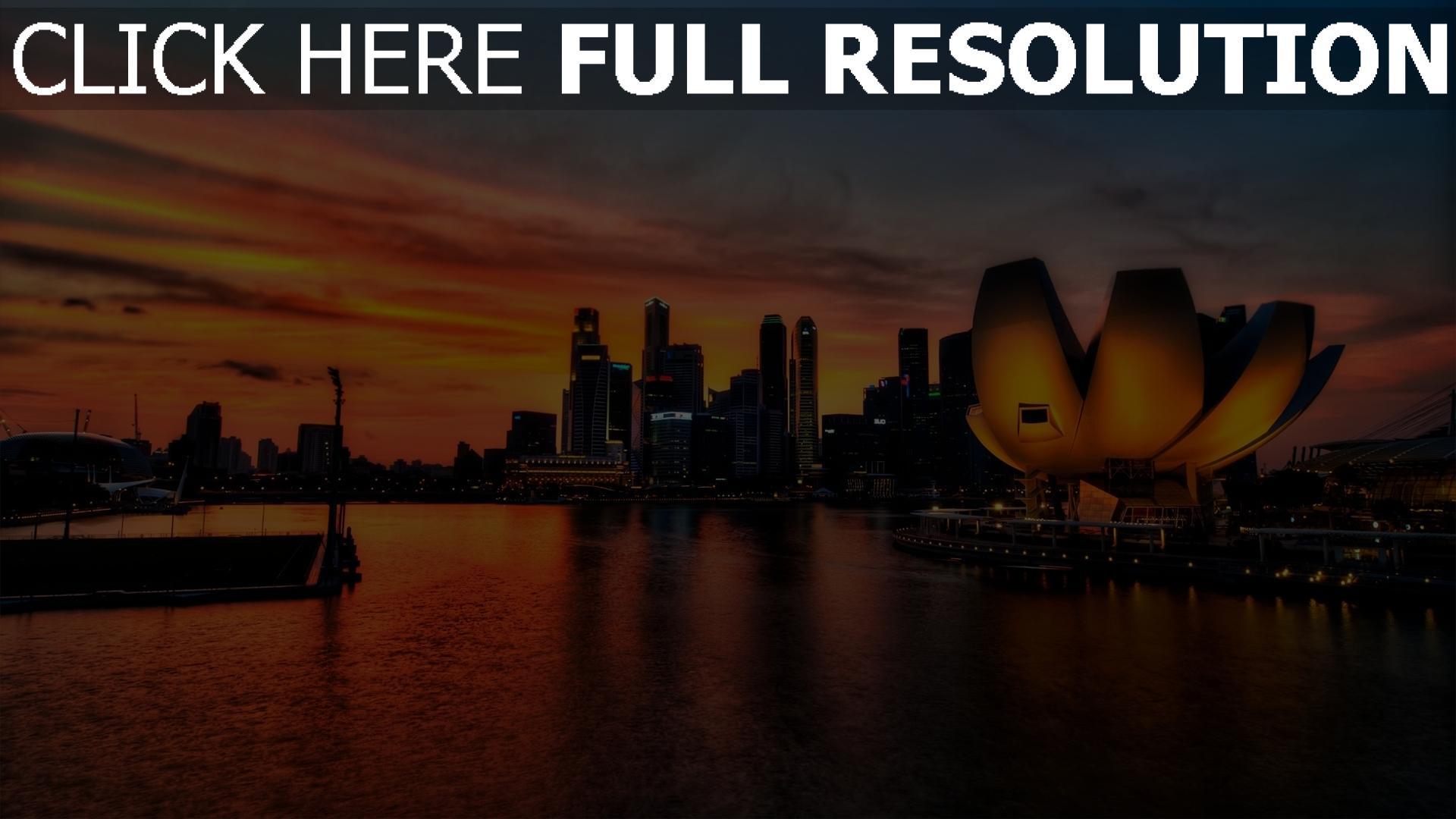 hd hintergrundbilder singapur sonnenuntergang licht hochhäuser 1920x1080