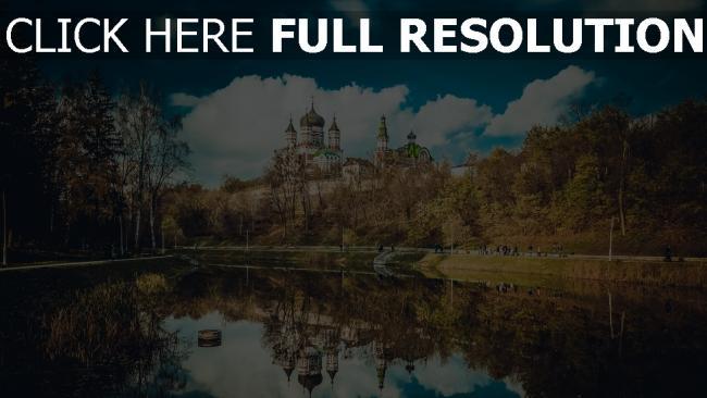 hd hintergrundbilder kathedrale feofania kiew fluss spiegelung