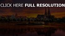 fluss stadt regensburg deutschland sonnenuntergang