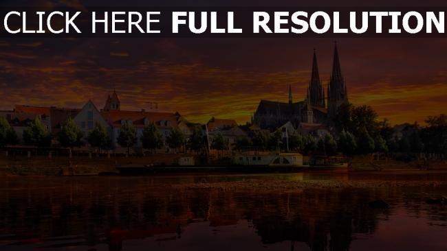 hd hintergrundbilder fluss stadt regensburg deutschland sonnenuntergang
