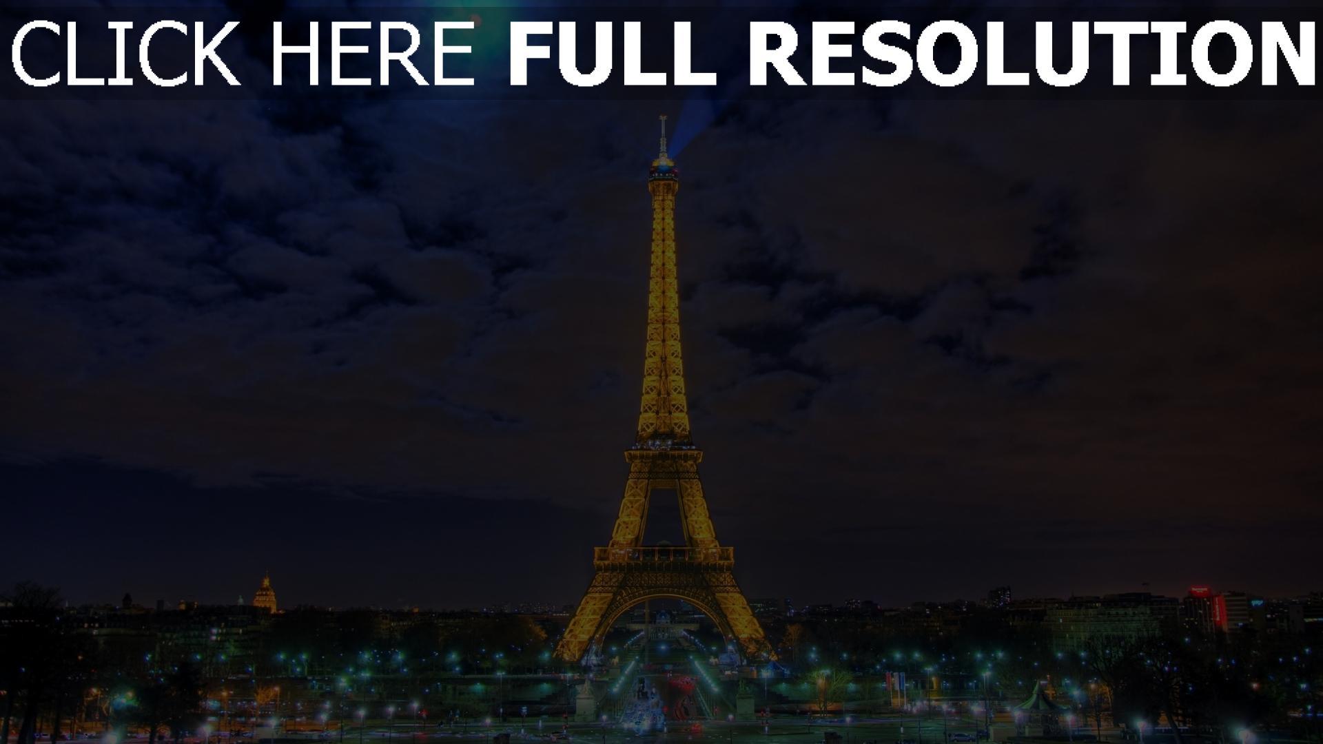 hd hintergrundbilder paris nacht licht eiffelturm 1920x1080