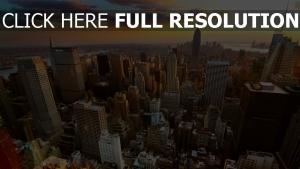 häuser wolkenkratzer höhe sonnenuntergang new york