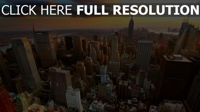 hd hintergrundbilder häuser wolkenkratzer höhe sonnenuntergang new york