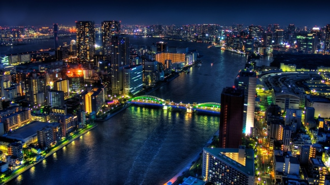 hd hintergrundbilder brücke gebäude hochhäuser lichter tokyo