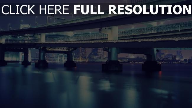 hd hintergrundbilder brücke tokyo lichter wolkenkratzer