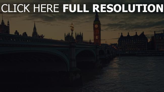 hd hintergrundbilder brücke abend big ben london thames
