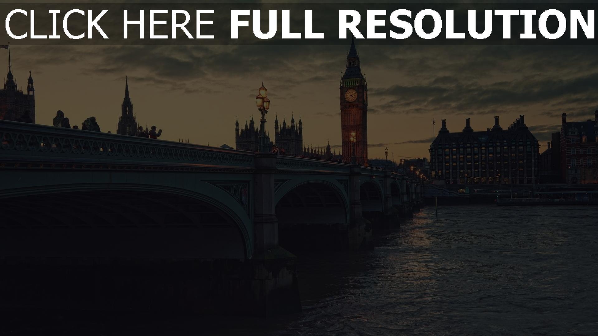 hd hintergrundbilder brücke abend big ben london thames 1920x1080