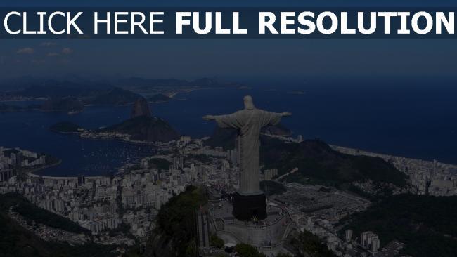 hd hintergrundbilder statue christus den erlöser rio de janeiro