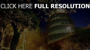 china gebäude nacht bäume blühende