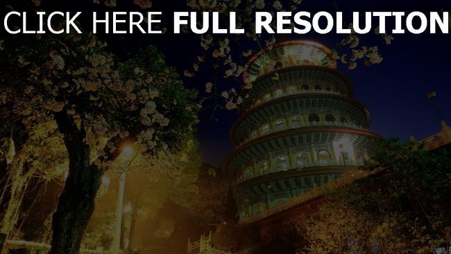 hd hintergrundbilder china gebäude nacht bäume blühende
