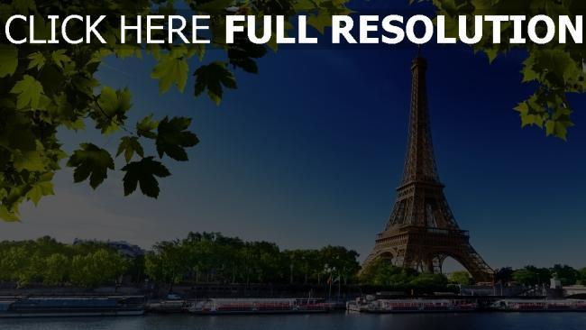 hd hintergrundbilder eiffelturm bäume fluss strand frankreich paris