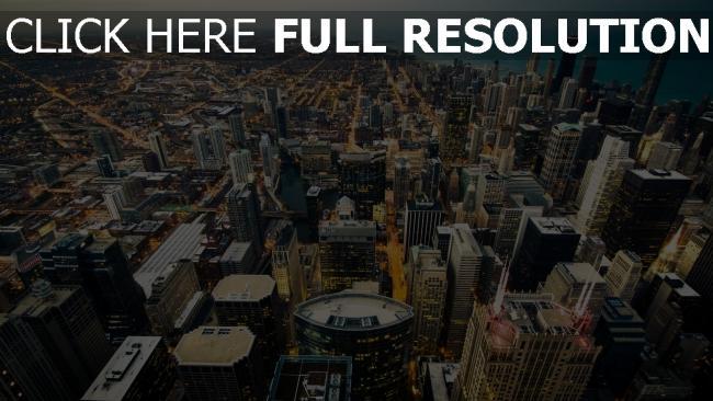 hd hintergrundbilder skyline küste lichter der stadt chicago