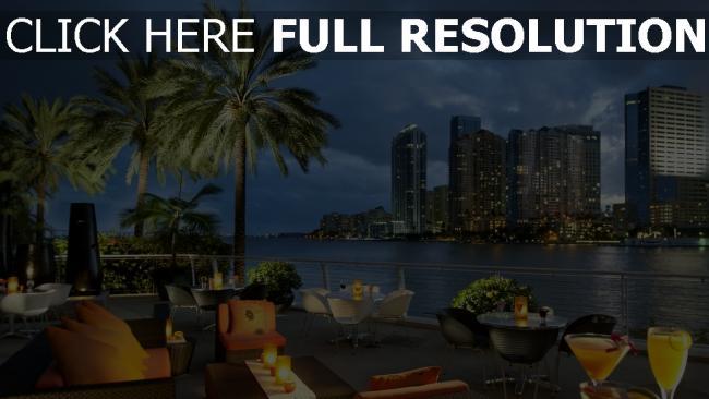 hd hintergrundbilder florida bucht stadt palmen ozean usa miami tabellen kaffee