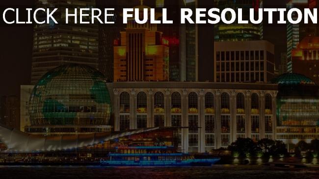 hd hintergrundbilder gebäude wolkenkratzer nacht shanghai