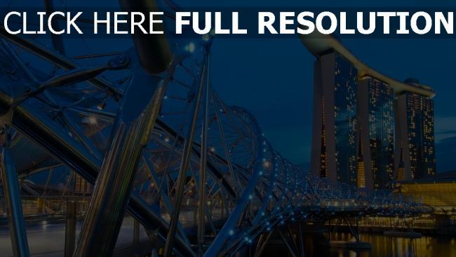 hd hintergrundbilder helix-brücke fluss beleuchtung gebäude abend singapur