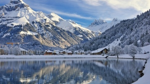 schweiz landschaft winter see berge engelberg