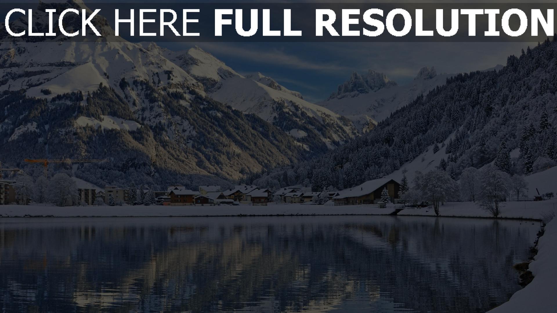 Montaña Nevada Hd: HD Hintergrundbilder Schweiz Landschaft Winter See Berge