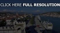 kroatien himmel boot menschen meer dock trogir natur