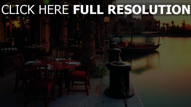 hd hintergrundbilder cafés sonnenuntergang abend boote promenade