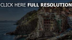 landschaft klippen italien küste riomaggiore gebäude hdr