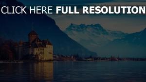 genfersee berge schnee stadt schweiz