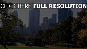 zentralpark wolkenkratzer gras new york