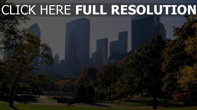hd hintergrundbilder zentralpark wolkenkratzer gras new york