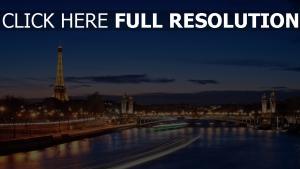 paris brücke beleuchtung hdr frankreich nacht eiffelturm fluss