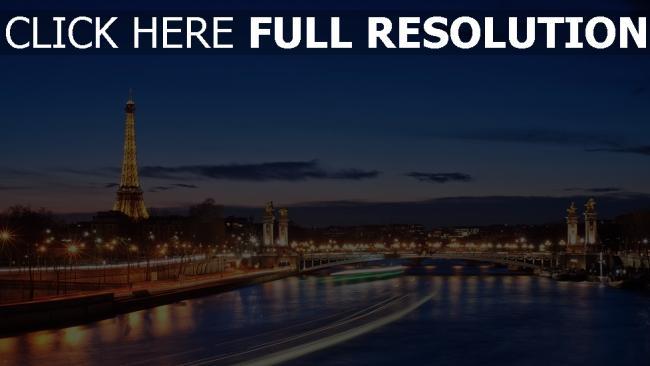 hd hintergrundbilder paris brücke beleuchtung hdr frankreich nacht eiffelturm fluss