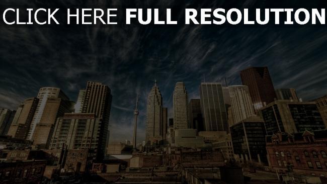 hd hintergrundbilder toronto häuser himmel wolken kanada stadt