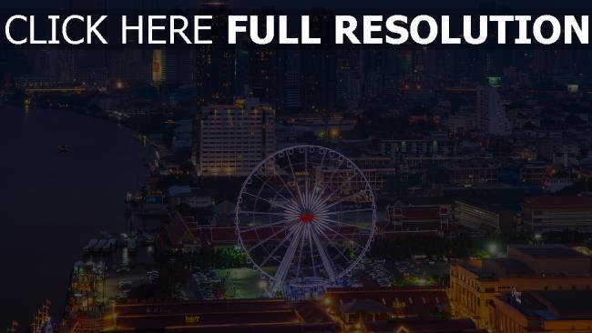 hd hintergrundbilder bangkok wolkenkratzer metropole riesenrad häuser nachtstadt