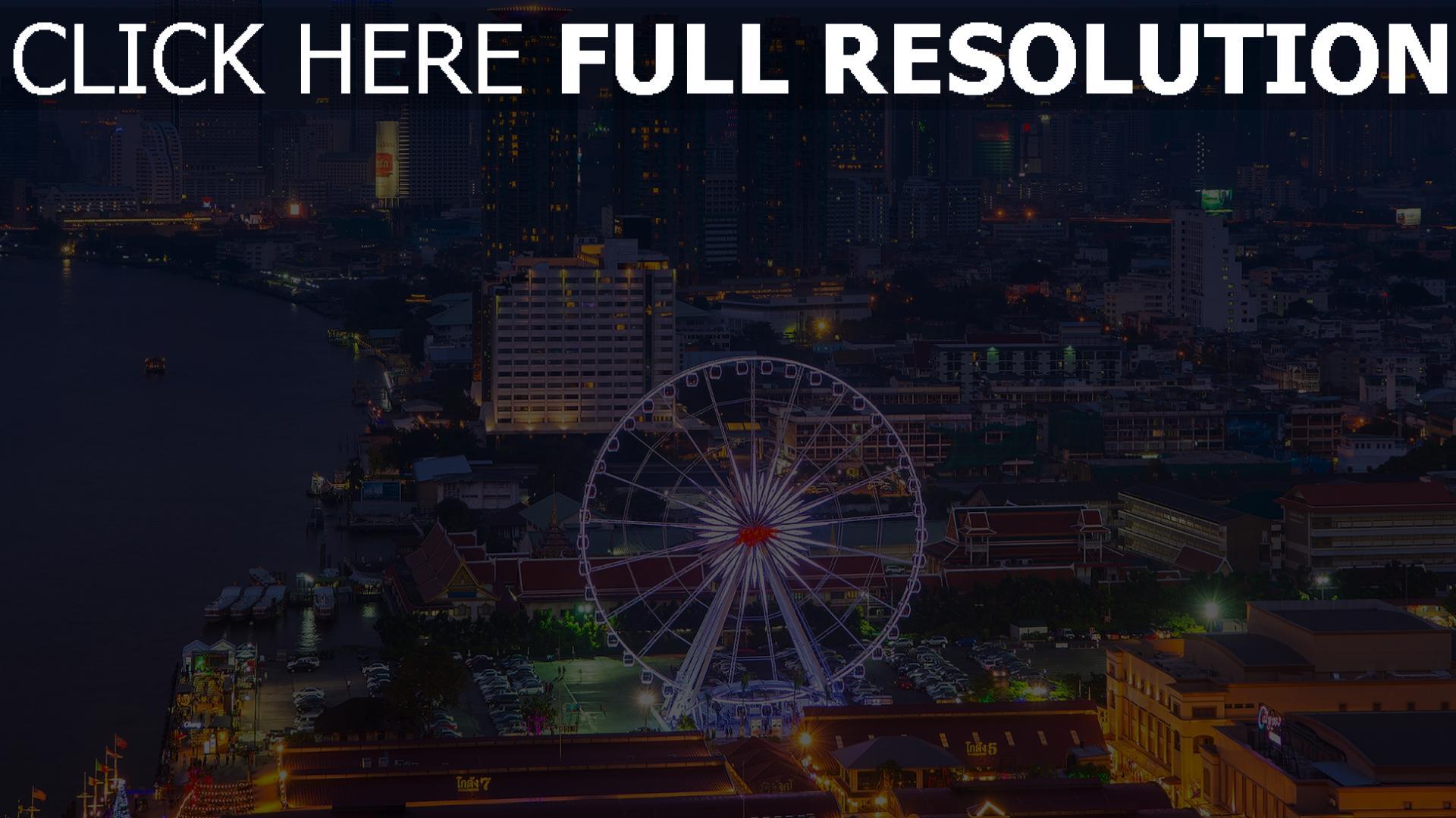 hd hintergrundbilder bangkok wolkenkratzer metropole riesenrad häuser nachtstadt 1920x1080