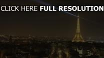 frankreich nacht lichter der stadt eiffelturm paris