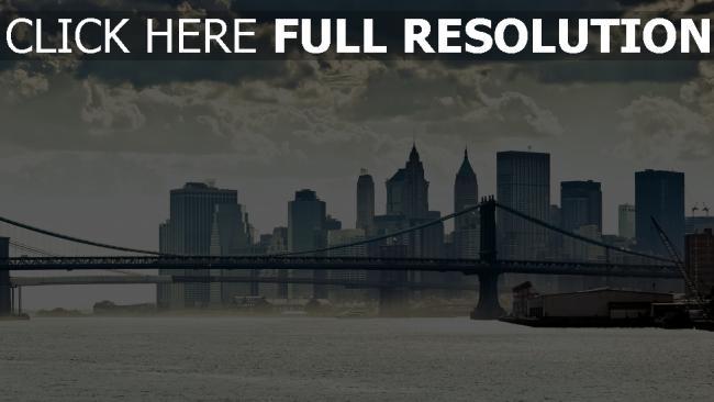 hd hintergrundbilder manhattan fluss brücke panorama new york