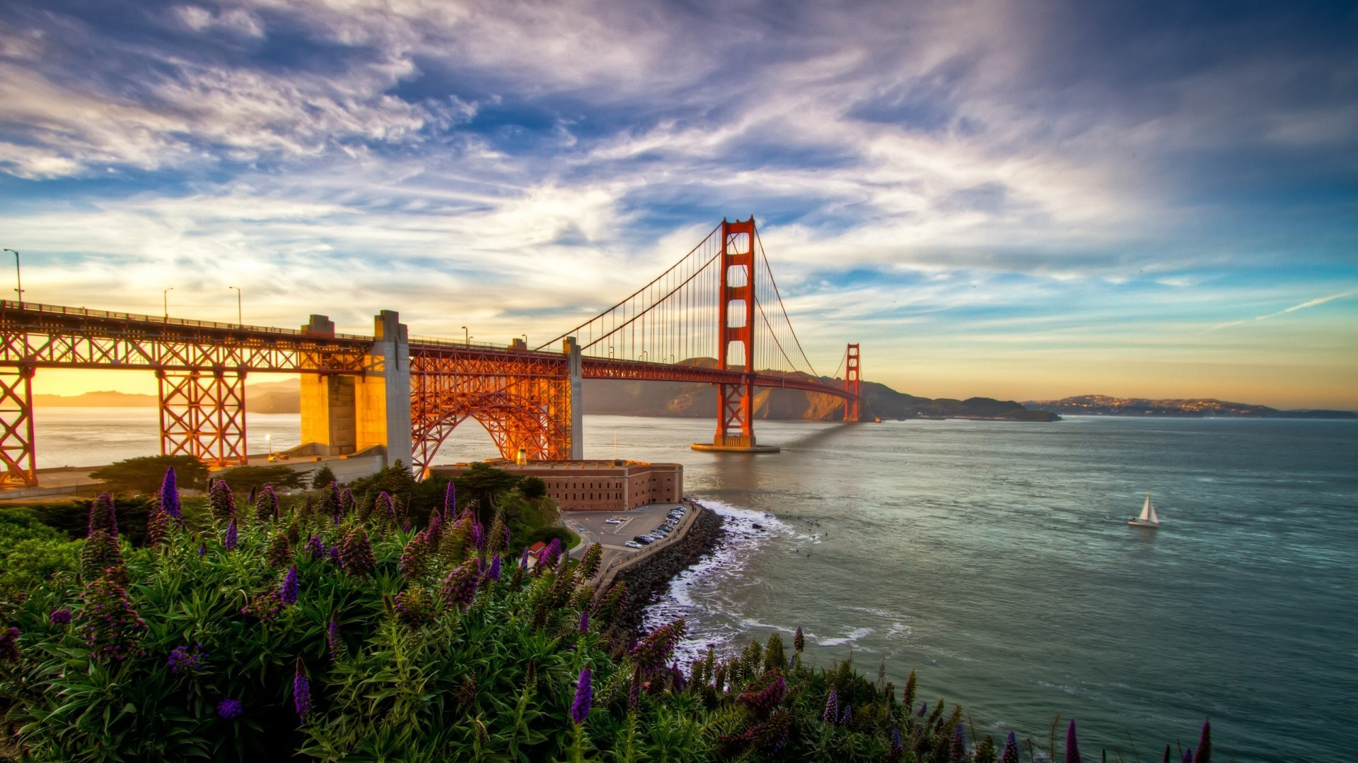 hd hintergrundbilder sonnenuntergang kalifornien usa san francisco golden gate bridge desktop. Black Bedroom Furniture Sets. Home Design Ideas