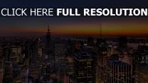 nacht aufsicht wolkenkratzer new york