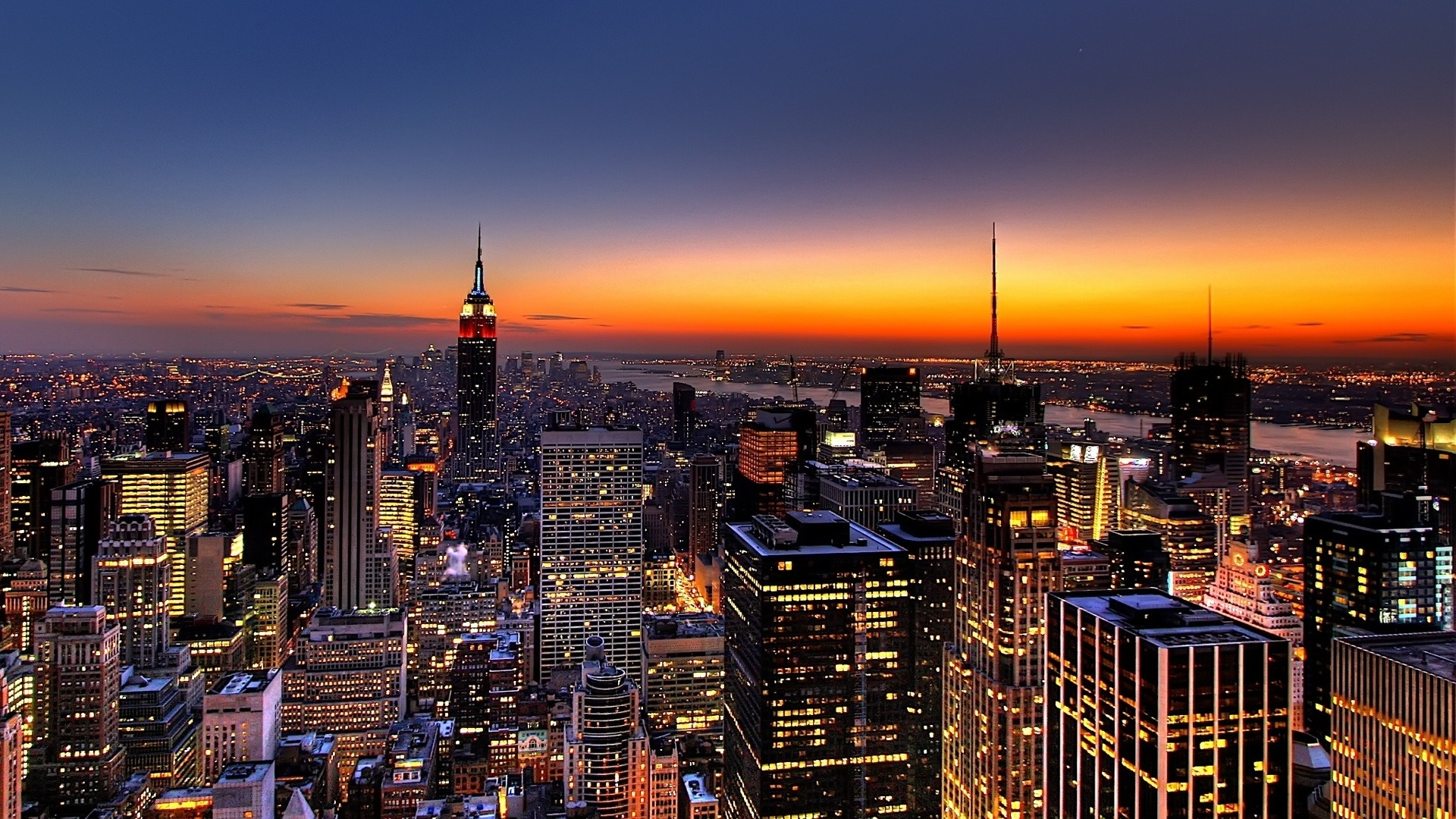 Hd Hintergrundbilder Nacht Aufsicht Wolkenkratzer New York