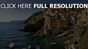 strand häuser boote italien