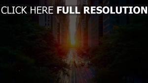 sonnenuntergang autos manhattan licht straße sonne stadt belichtung