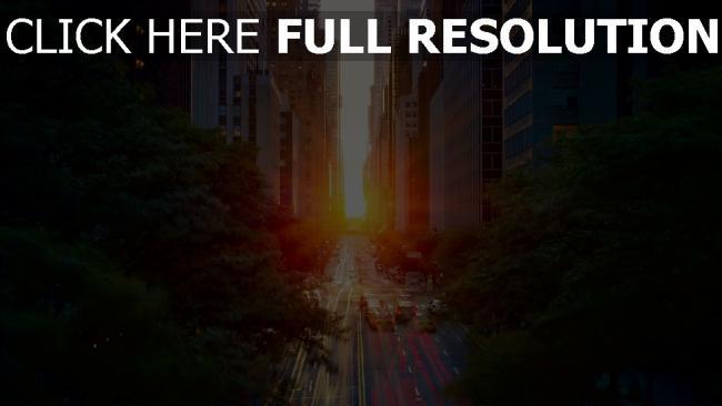 hd hintergrundbilder sonnenuntergang autos manhattan licht straße sonne stadt belichtung