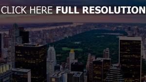 stadt blick von oben gebäude himmel nacht new york