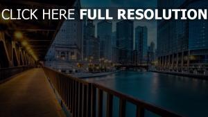 gebäude fluss beleuchtung illinois chicago wolkenkratzer häuser brücke beleuchtung