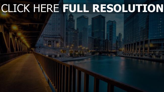 hd hintergrundbilder gebäude fluss beleuchtung illinois chicago wolkenkratzer häuser brücke beleuchtung