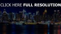 nacht fluss betrachtung beleuchtung new york