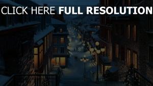 gebäude balkone nacht stadt