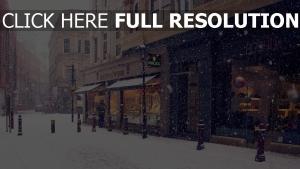 winter einkaufen straße schnee europa stadt