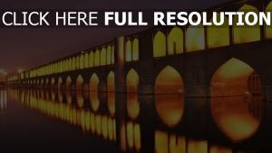 iran nacht licht brücken isfahan