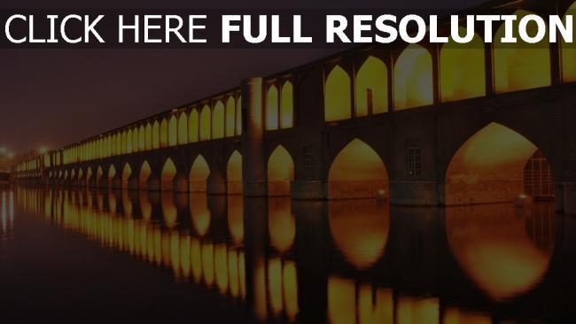 hd hintergrundbilder iran nacht licht brücken isfahan